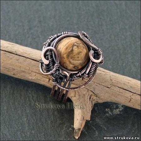 Медное кольцо с яшмой Струкова Елена